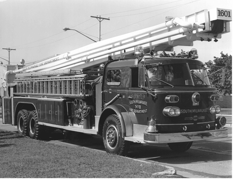 Black and White Image of a Fire Truck